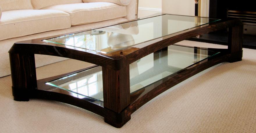 Table tops Wood coffee table glass top